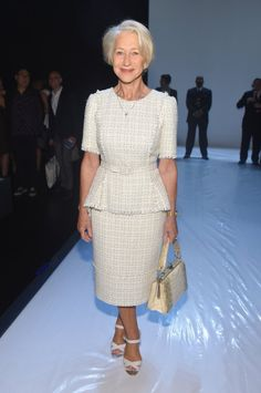 Pin for Later: These Stars Have Been Sitting Pretty in NYFW's Front Row Helen Mirren Helen Mirren looked very ladylike in this tweed peplum set at Badgley Mischka.