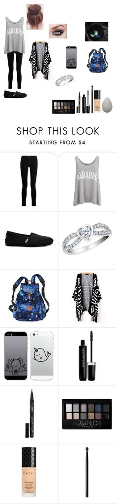 """""""Untitled #606"""" by cuddles2199 ❤ liked on Polyvore featuring J Brand, Gestuz, TOMS, Victoria's Secret PINK, Marc Jacobs, Smith & Cult, Maybelline, Gucci, NARS Cosmetics and beautyblender"""