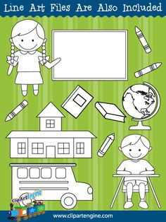 Black and white line art files are also included as part of the Clip Art Starter Kit.