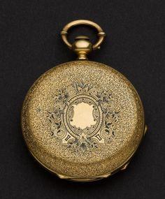 Swiss 18k Gold & Enamel Hunter's Case Pocket Watch.