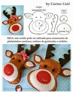 10 nouveaux ornements de Noël à coudre Felt Christmas Decorations, Felt Christmas Ornaments, Christmas Holidays, Reindeer Ornaments, Reindeer Face, Christmas Deer, Tree Decorations, Reindeer Figurines, Christmas Raindeer