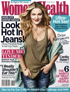 Drew Barrymore At Women& Health Magazine December 2013 Drew Barrymore, Health Snacks, Health Eating, Pin Up, Womens Health Magazine, Senior Home Care, Fashion And Beauty Tips, Health Lessons, Health Breakfast