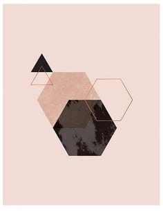 Geometric Copper Foil Print