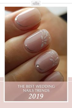The Best Wedding Nails 2019 Trends, Wedding Nails 2019 Pink White Flowers . : The Best Wedding Nails 2019 Trends, Wedding Nails 2019 Pink White Flowers . Simple Wedding Nails, Wedding Manicure, Wedding Nails Design, Nail Wedding, Bridal Nail Art, Wedding Decor, Wedding Ideas, Hair And Nails, My Nails