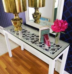 Gigi squares used under glass on painted Crate and Barrel console table