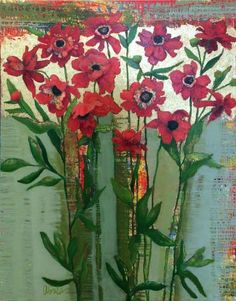 Red Peonies by Anne Salas - Field Gallery Blue Bouquet, Spring Bouquet, Red Peonies, Pink Flowers, White Hibiscus, White Anemone, American Artists, Abstract, Asian Design