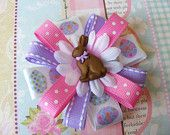 Items similar to Pink & Purple Easter Bunny Hair Bow on Etsy