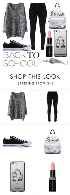"""""""back to school"""" by galaxy-gamerlol ❤ liked on Polyvore featuring Converse and Smashbox"""