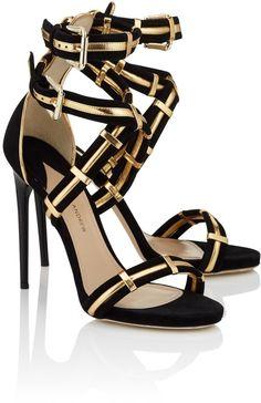 Paul Andrew Black Gold Strappy Katerini Heels