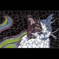 Cat mosaic – stained glass – Spotty – cbmosaics