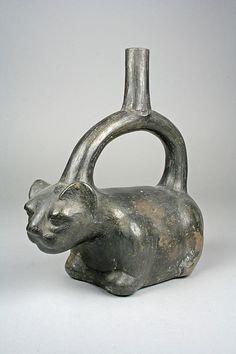 Stirrup Spout Bottle with Cat Date: century Geography: Peru Culture: Moche Medium: Ceramic, slip Ancient Art, Ancient History, Art History, Peru Culture, Peruvian Art, Arte Tribal, Art Premier, Celtic, Mesoamerican