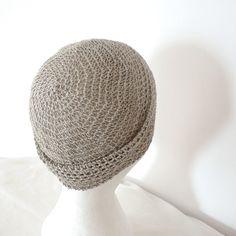natural grey linen crochet beanie
