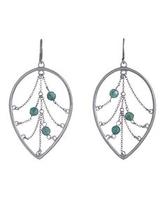 Take a look at this Annaleece Silver & Aventurine Leaf Earrings on zulily today!