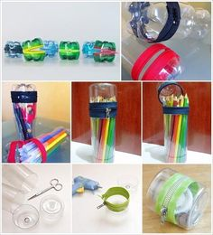 DIY Creative Zipper Container from plastic bottles. All you need is a plastic bottle, scissor, zipper and glue. Simply cut the plastic bottle and attach a zipper with your favorite color to it. Reuse Plastic Bottles, Plastic Bottle Crafts, Recycled Bottles, Diy Bottle, Bottle Art, Diy Books Organizer, Diy Organisation, Ways To Recycle, Recycled Crafts