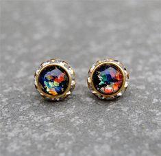 Black Rainbow Opal Diamond Rhinestone Stud Earrings by MASHUGANA. WANT