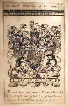 ANTIQUE ENGLISH HERALDRY c.1677 Engraved - COATS OF ARMS FOR CHARLES II