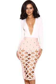 'Izumi' Falda y Bragas Color Rosa Pálido Con Diseño Entrecruzado
