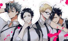Haikyuu! - Bokuto Koutaro, Akaashi Keiji, Tsukishima Kei and Tetsurou Kuroo