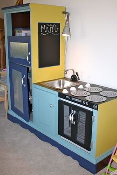 Play Kitchen From Entertainment Center | Play kitchen from old entertainment…