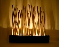 Bamboo mood lamp Modern Japanese style tabletop by AuraWaterfalls Table Led, Table Lamps, Diy Lampe, Bamboo Room Divider, Mood Lamps, Bamboo Table, Style Japonais, Lucky Bamboo, Bamboo Crafts