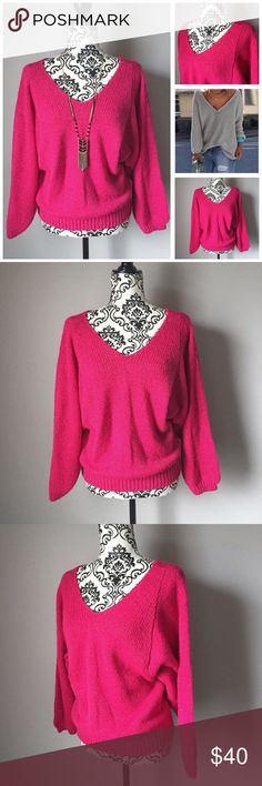 """Magenta pink double v-neck long sleeve sweater Fun and feminine magenta pink double v-neck sweater. Long sleeves that are gathered at the wrist for a full flowy look.  Gathered hem.  Armpit to armpit 20"""".  Length from top of shoulder to hem 24"""".  100% acrylic is soft, medium weight, and machine washable.  Worn and washed 2-3x - EUC! No rips, stains, or tears. TOI Sweaters V-Necks"""