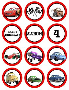 Disney THE CARS Printable Birthday Party Cupcake Toppers Favor Tags (GC-012). $5.00, via Etsy.