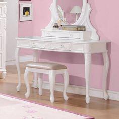Coaster Company Caroline Collection Vanity Desk, White Painted