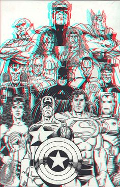 JLA and the Avengers in 3D Anaglyph by xmancyclops on deviantART