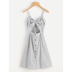 Stripe Cut Out Bow Front Foldover Cami Dress (€15) ❤ liked on Polyvore featuring dresses, grey, camisole slip, sleeveless a line dress, sleeveless dress, a line dress and sleeved dresses