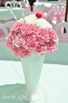 This Ice Cream Party is styled to resemble an ice cream parlor! Â Ice Cream Tr… This Ice Cream Party is styled to resemble an ice cream parlor! Â Ice Cream Truck cake, bistro style tables, ice cream sundae flower arrangements 1st Birthday Parties, Girl Birthday, Birthday Ideas, 1st Birthdays, Birthday Table, Birthday Banners, Birthday Invitations, Birthday Gifts, Ice Cream Social