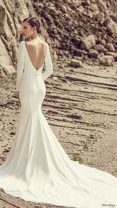 mikaella spring 2017 bridal long sleeves bateau neckline simple clean design elegant fit and flare wedding dress open low back long train (2105) bv