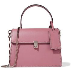 Valentino The Rockstud leather tote (9 435 PLN) ❤ liked on Polyvore featuring bags, handbags, tote bags, leather tote bags, structured tote, valentino tote, mini leather tote and purple tote