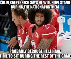 We post the best collection of kaepernick memes from different sources of the internet. Let's start to see all 15 best kaepernick memes. Funny Football Memes, Basketball Memes, Funny Sports Memes, Nfl Memes, Sports Humor, Funny Memes, Hilarious, Funny Nfl, Cowboys Memes