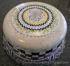 Another Mackenzie Childs trash to treasure journey with an aluminum cake cover. Looks gorgeous!