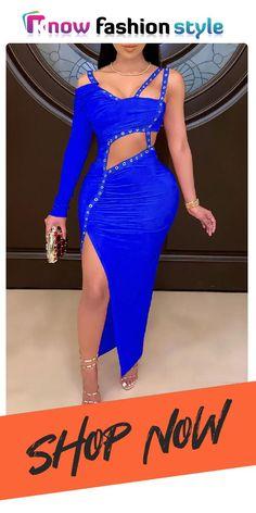 Royal Blue Evening Dress, Evening Dresses, Brown Fashion, Pink Fashion, Blue Dresses, Dresses With Sleeves, Asymmetrical Dress, Ankle Length, Sexy