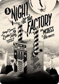 A Night At The Factory Print, by Dudes Factory Retro Cartoons, Vintage Cartoon, Vintage Comics, Betty Boop, Illustrations, Illustration Art, Mc Bess, Art Design, Graphic Design