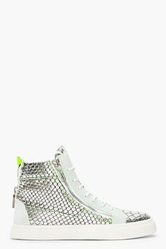 GIUSEPPE ZANOTTI Metallic Silver Scaled London Sneakers