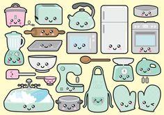 Premium Vector Clipart - Kawaii Kitchen Clipart - Kawaii Kitchen Clip art Set - High Quality Vectors - Instant Download - Kawaii Clipart