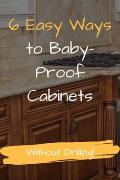 How to DIY babyproof kitchen cabinet doors without drilling, 6 super easy ways. Baby Proof Drawers, Homemade Cabinets, Baby Proof Cabinets, Toddler Proofing, Toddler Kitchen, Diy Cabinet Doors, Do It Yourself Baby, Childproofing, Baby Kind