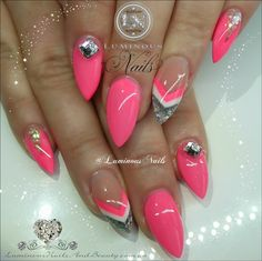 Luminous Nails:      Coral, White & Silver...    Sculptured Acryli...