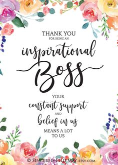 Best Boss Gifts Quotes - Inspirational Boss YOU PRINT Printable great as Wall Art Posters to show Appreciation to your Boss 40198 Inspirational Happy Birthday Quotes, Happy Birthday Quotes For Daughter, Boss Birthday Quotes, Quotes Inspirational, Happy Birthday Boss Lady, Best Boss Gifts, Gifts For Boss, Thank You Boss Quotes, Gift Quotes