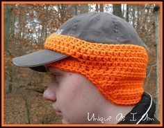 Wow what a great idea for that hunter or fisherman in your family! Crochet pattern ear warmer for baseball cap