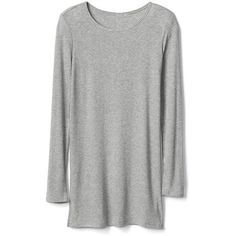 Gap Women Modal Rib Knit Tunic (110 ILS) ❤ liked on Polyvore featuring tops, tunics, heather grey, regular, long sleeve drape top, rib knit top, modal top, draped tops and long sleeve tops