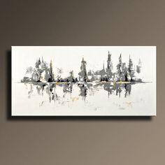 75 grande ORIGINAL negro blanco gris oro pintura abstracta