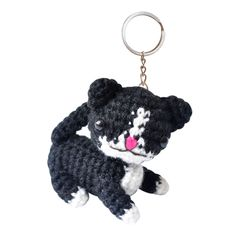 Cat Toy 2 Handmade Crochet Stuffed Keychains Keyrings VKC