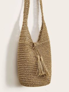 To find out about the Tassel Decor Woven Tote Bag at SHEIN, part of our latest Shoulder & Tote Bag ready to shop online today! Bag Crochet, Crochet Handbags, 0 Bag, Tree Bag, Bag Women, Summer Bags, Knitted Bags, Bucket Bag, Tassels