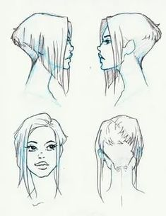 Hair Reference, Drawing Reference Poses, Drawing Skills, Drawing Techniques, Drawing Base, Woman Drawing, Short Hair Drawing, Anime Long Hair, Drawing Anime Bodies