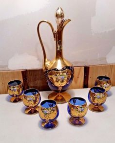 Vintage Mid-Century Murano Glass Hand Painted Cobalt & Gold Decanter Set