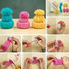 If you are looking for the cutest DIY Christmas ornament ever you just have to give these mini yarn hats ornaments a go. Diy Christmas Ornaments, Felt Christmas, How To Make Ornaments, Holiday Crafts, Pom Pom Crafts, Yarn Crafts, Diy Crafts, Toilet Paper Roll Crafts, Camping Crafts