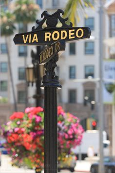 Street sign at Rodeo Drive near Beverly Wilshire Hotel - Beverly Hills, Los Angeles, LA, California, USA
